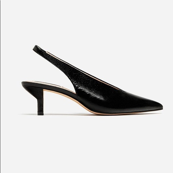 43c17c2339f9 Zara Leather Black Kitten Heel Slingbacks